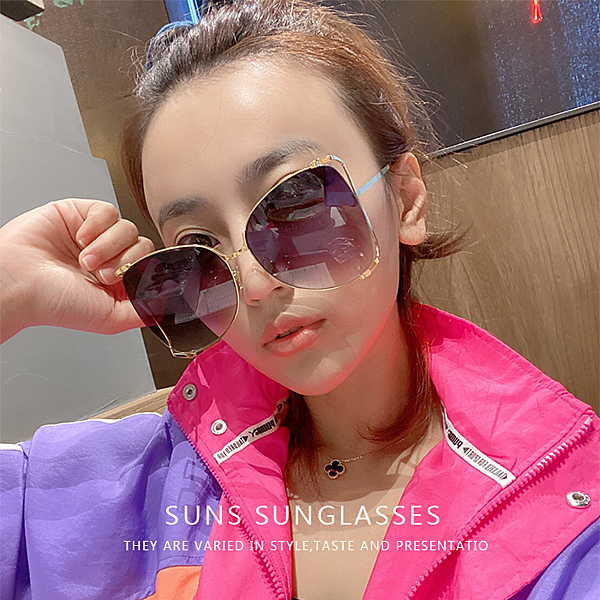 歐美新款大框簍空滾動珍珠金屬墨鏡 顯小臉時尚太陽眼鏡 抗紫外線UV400