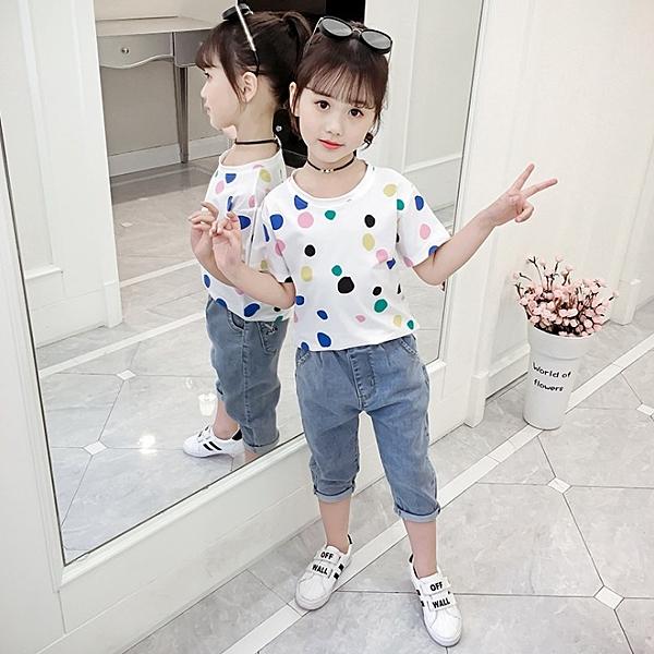 衣童趣↘韓版中大女童 可愛點點短袖T恤 百搭夏日圓領上衣