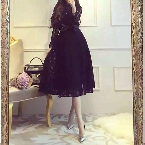 長袖洋裝  定制名媛氣質長袖蕾絲中長款連衣裙禮服