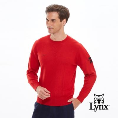 【Lynx Golf】男款羊毛保暖舒適手臂Logo長袖毛衣-橘紅色