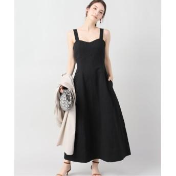 VERMEIL par iena 【INSCRIRE/アンスクリア】Cotton Linen Ratine ドレス ブラック フリー