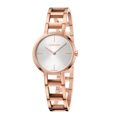 Calvin Klein 卡文克萊 極致經典玫瑰金手鍊腕錶 K8N23646 35mm