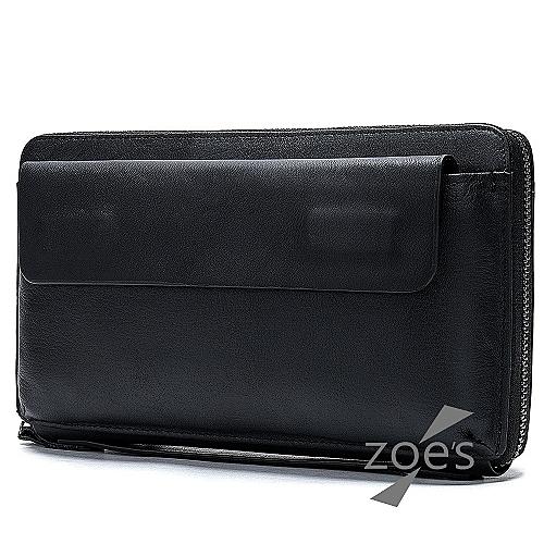 【Zoe s】商務橫款真皮手拿包(性格黑)