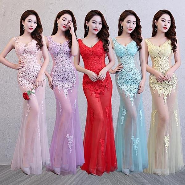 透視禮服 洋裝 性感女裝蕾絲透明晚禮服長裙KTV工作服