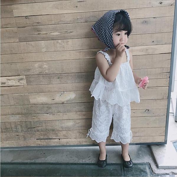 *╮小衣衫S13╭*夏季女童甜美布蕾絲背心搭中褲套裝1090307