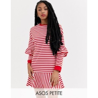 エイソス レディース ワンピース トップス ASOS DESIGN Petite ruffle sweat mini dress in red and white stripe Red and white