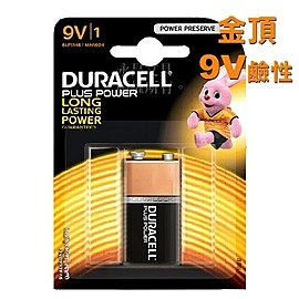 DURACELL 金頂 9V 鹼性電池 10顆入 /盒