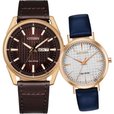 CITIZEN 星辰 光動能情侶手錶 對錶(AW0083-08X+EM0763-07A)
