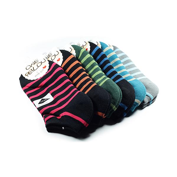 貝柔 機能萊卡運動防震護足船襪 橫條(混色) 2入組
