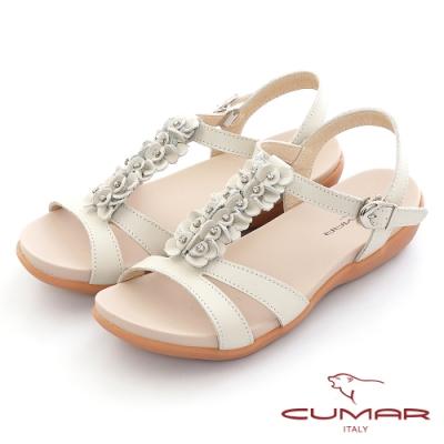 【CUMAR】立體花朵裝飾腳床式涼鞋-米白