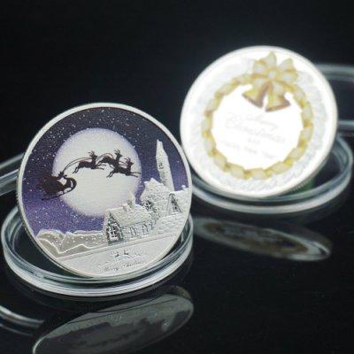 歐美宗教圣誕平安夜紀念幣雪人硬幣 收藏愛情幣浪漫圣誕鹿紀念幣iqpg617