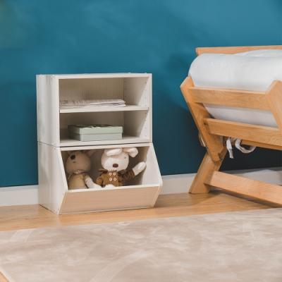 樂嫚妮 收納櫃/置物櫃/玩具櫃/二層空櫃-2入組-木紋白色