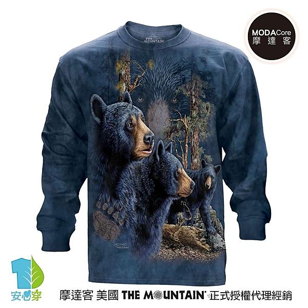 摩達客-(預購)美國進口The Mountain 尋十三熊群 純棉長袖T恤