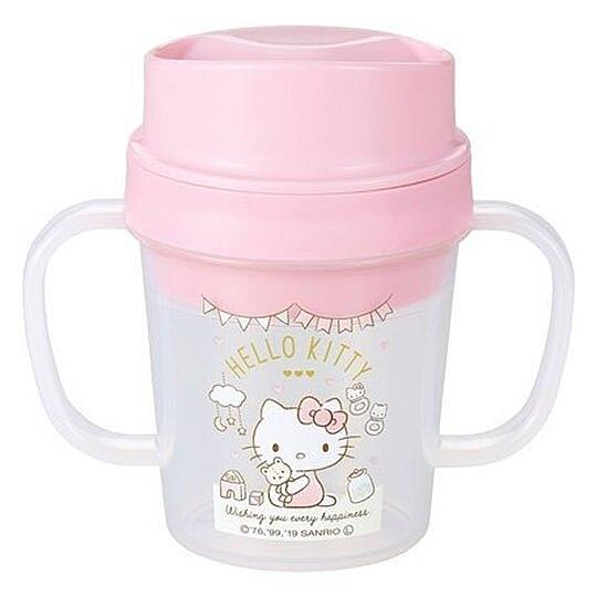〔小禮堂〕Hello Kitty 日製透明直飲幼兒雙耳學習杯《粉白.抱小熊》150ml.隨身杯 4970825-12319