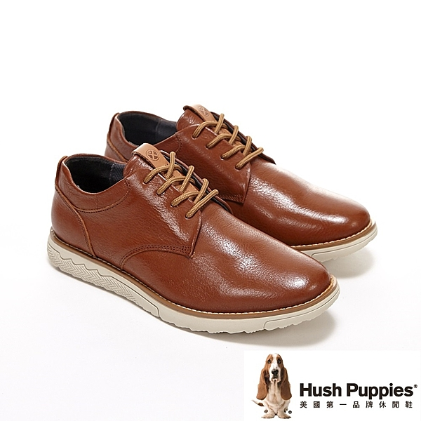 Hush Puppies 素面綁帶休閒鞋 男鞋-桔咖(另有黑)