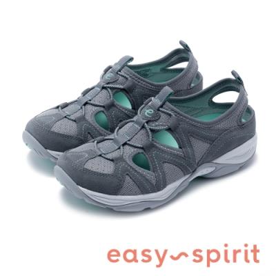 Easy Spirit-seEARTHEN 多彩多色 後跟鏤空撞色涼休閒鞋-灰綠