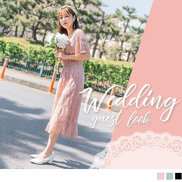 《DA6523-》婚禮系列~純色蕾絲雕花腰鬆緊拼接荷葉裙襬洋裝 OB嚴選