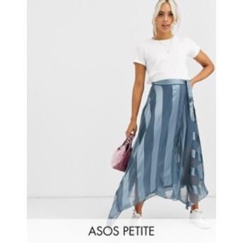 エイソス レディース スカート ボトムス ASOS DESIGN Petite satin stripe wrap midi skirt with tie waist Blue
