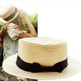 Qmishop 雜誌款絕美禮帽/草帽/平頂帽 【QG061A】防曬帽 編織帽