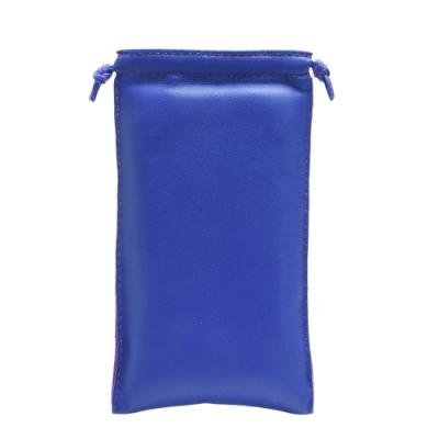 HERMES 小羊皮束口眼鏡保護收納袋(電藍色)