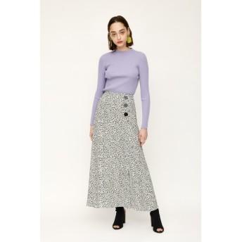 LEOPARD SPOT SIDE SLIT ロングスカート