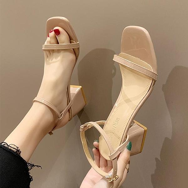 粗跟涼鞋 羅馬涼鞋女2020夏季新款韓版百搭露趾一字帶高跟鞋