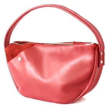 本革 半月ハンドバッグ 赤 Halfmoon leather shoulder bag red