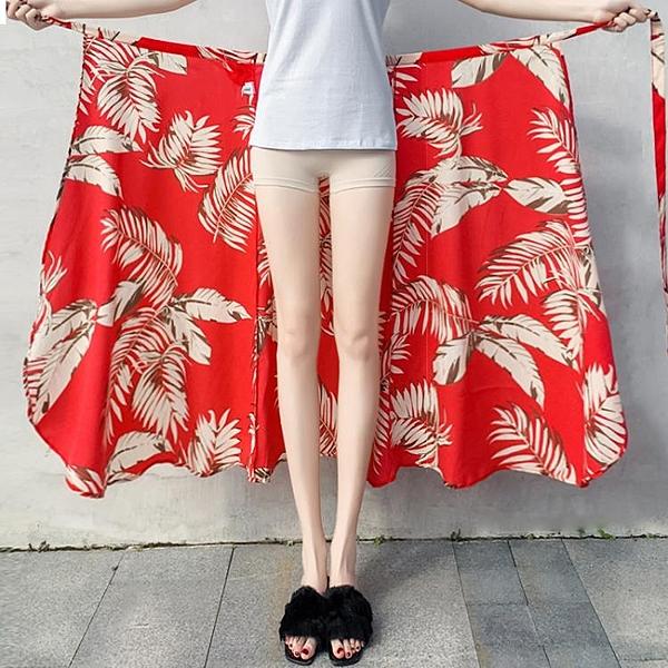 長裙 度假半身裙2020春夏新款海邊沙灘裙一片式裹裙雪紡碎花