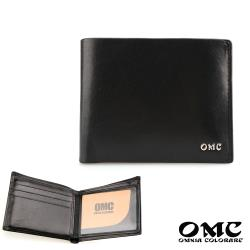 【OMC】10卡2照義大利植鞣革左右翻可拆式牛皮短夾(黑色)