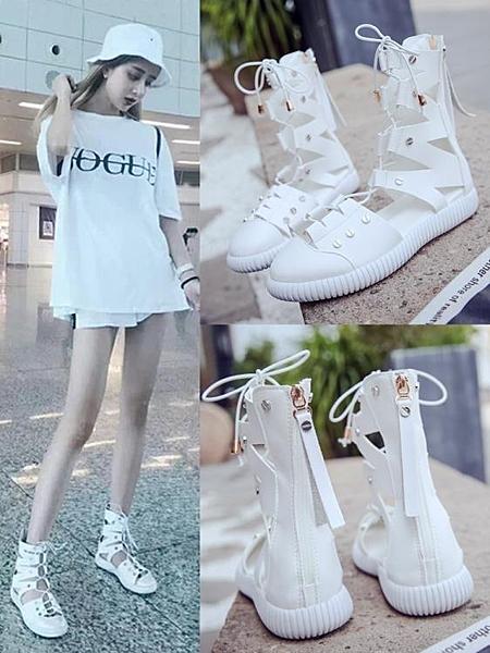 羅馬涼鞋 2020夏季新款涼鞋白色綁帶高筒平底羅馬繫帶涼靴