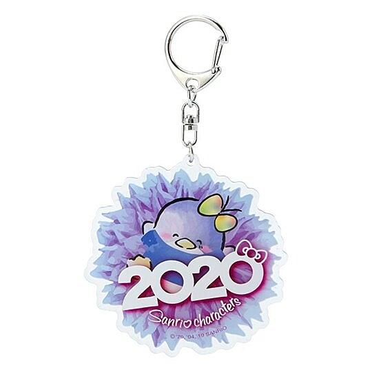 〔小禮堂〕山姆企鵝 花朵造型壓克力鑰匙圈《藍》掛飾.鎖圈.2020花漾系列 4901610-16557