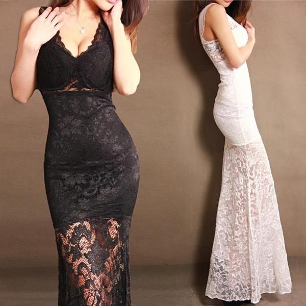 透視禮服 洋裝 性感透視顯瘦蕾絲連身裙魚尾長裙宴會晚禮服