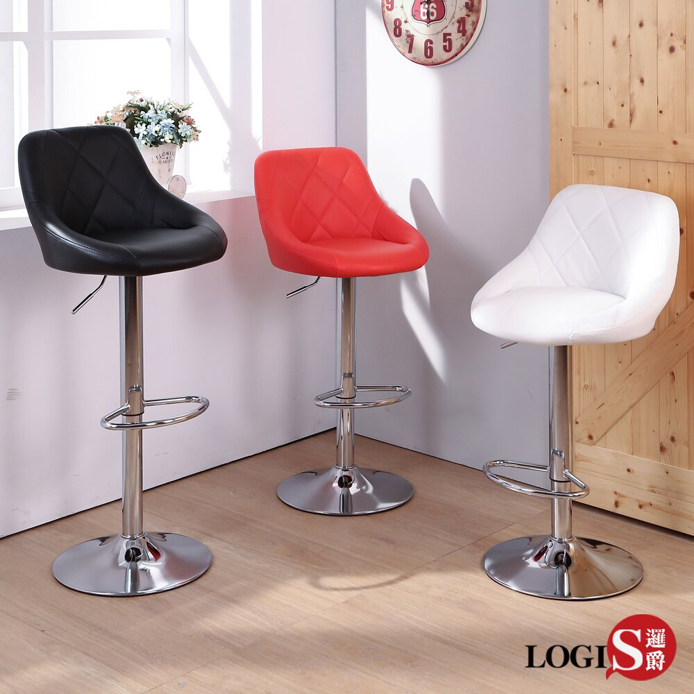LOGIS 多莉絲皮面高吧椅 吧檯椅 吧台椅 美容椅 休閒椅 旋轉椅【LOS-173HX】