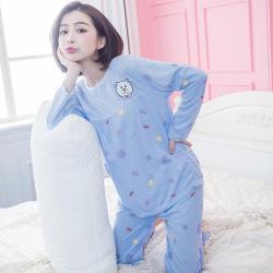 lingling日系 小熊貼布條紋水果圖案牛奶絲長袖二件式睡衣組(全尺碼,共二色)