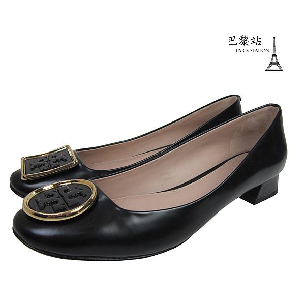 【巴黎站二手名牌專賣店】*現貨*TORY BURCH 真品*經典雙T釦 黑色低跟鞋 (6號)