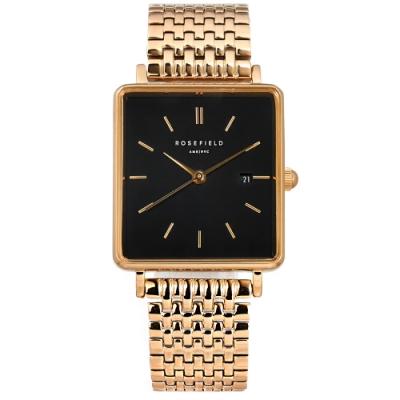 ROSEFIELD 簡約典雅 復古方形 日期 不鏽鋼手錶 黑x鍍玫瑰金 QBSR-Q19 26mm