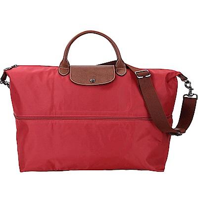 LONGCHAMP Le pliage 拉鍊伸縮尼龍兩用旅行袋(紅色)