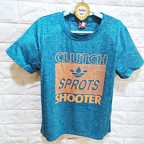 棒棒糖童裝(B53079水藍)夏男大童水藍色美式運動風休閒短袖上衣 120-170