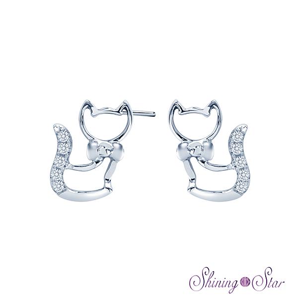 貓咪頂級晶鑽白K金耳環 Shining Star K金 飾品 耳環(可愛俏皮動物造型)