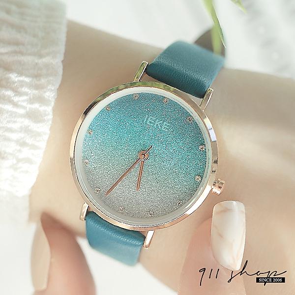 Snowy.IEKE品牌。漸層星砂亮片點鑽刻度皮革錶帶手錶【ta084】911 SHOP