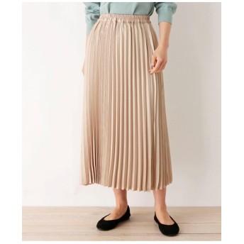 ヴィンテージ風サテンプリーツロングスカート