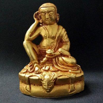 【天馬行銷】密勒日巴 尼泊爾製純銅鎏金佛像