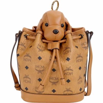MCM 棕色小狗玩偶造型束口水桶包(玩偶可拆當鑰匙圈使用)