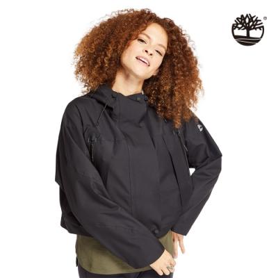 Timberland 女款黑色寬鬆短版連帽派克大衣|B5104