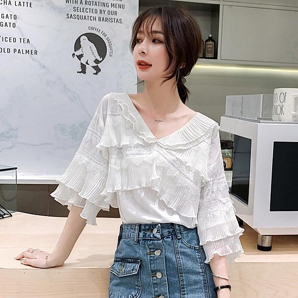 2020春夏新款娃娃衫很仙的白色雪紡上衣寬鬆韓版洋氣蕾絲短袖襯衫 高質量 萬聖節狂歡價