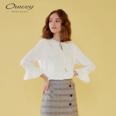 OUWEY歐薇 都會雪紡小立領綁帶上衣(白)