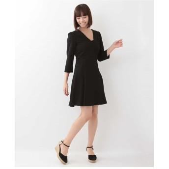 TARA JARMON フレアジャージードレス ワンピース,ブラック