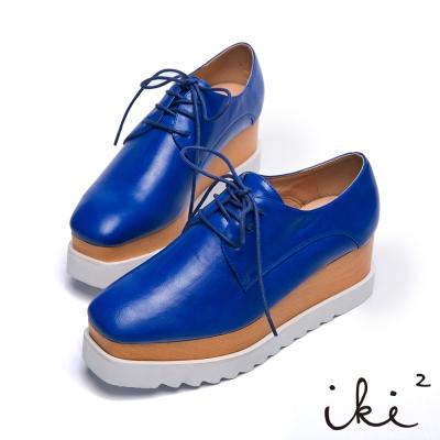 iki2大藝術家-原木拼接 舒適厚底牛津鞋-藍