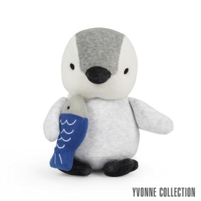 Yvonne Collection 吃魚企鵝造型小玩偶-淺灰