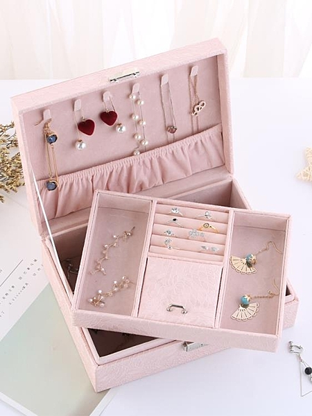 首飾收納盒 歐式公主韓國手飾品首飾帶鎖耳釘耳環首飾盒子